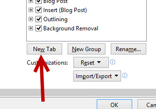 Office 2013 Create new custom tab on ribbon