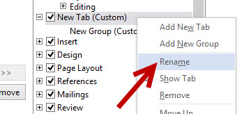rename a new custom tab on ribbon