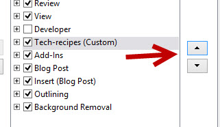 reorder tabs in office ribbon