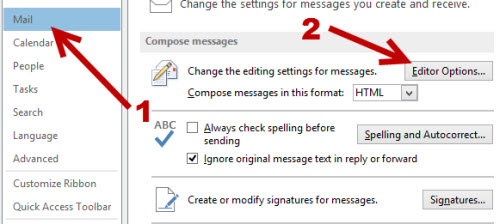 outlook 2013 editor mail options
