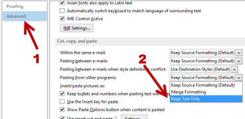 outlook 2013 paste as plain text