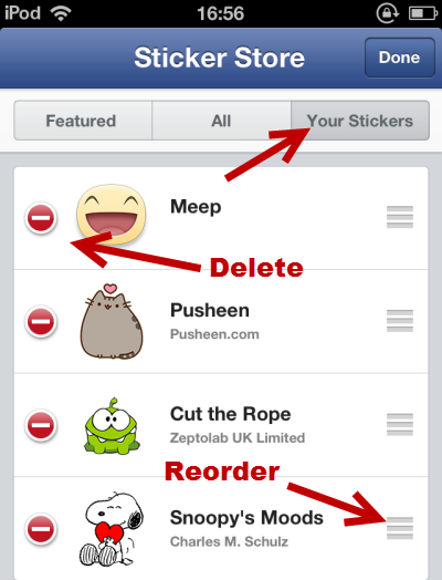 Delete reorder stickers in Facebook