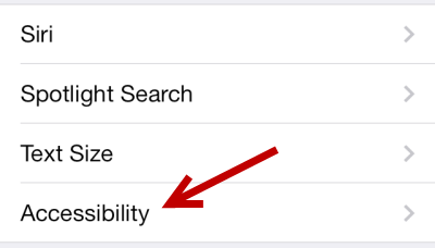 iOS 7 Accessibility Settings
