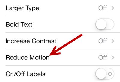 iOS 7 turn off parallax effect
