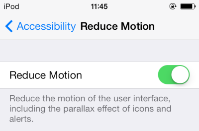 iOS 7 turn off 3D background effect