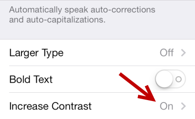 iOS 7 Increase Contrast Turn Off Translucent Effect
