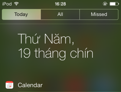 iOS 7 notification center with translucent background