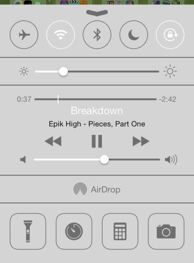 iOS 7 Control Center without translucent background