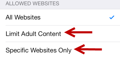 iOS 7 limit adult content or allow specific websites only