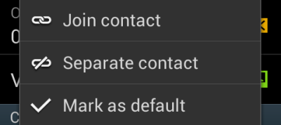 samsung android join or separate contact mark as default