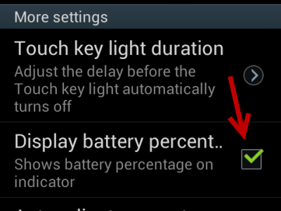 samsung android display battery percentage