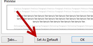 word 2013 set default paragraph settings