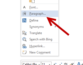 word 2013 paragraph settings