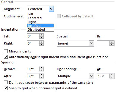 word 2013 indents and spacing settings