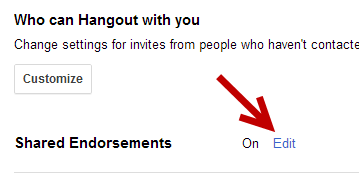Google Plus Shared Endorsements Settings