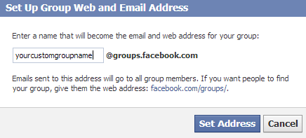 set up Facebook custom address