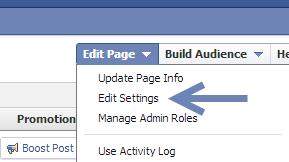 edit Facebook Page settings