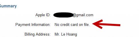 remove iTunes account credit card