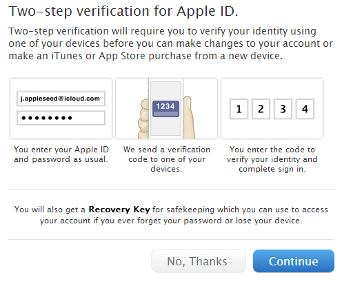 two-step verification for apple id setup