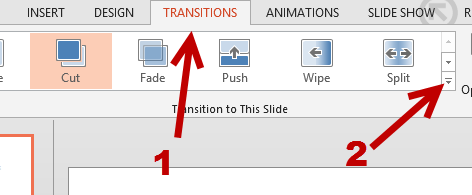 powerpoint 2013 page transitions