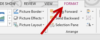 word powerpoint 2013 format tab