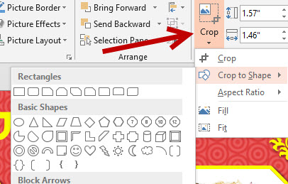 powerpoint or word 2013 crop or fit images into shapes