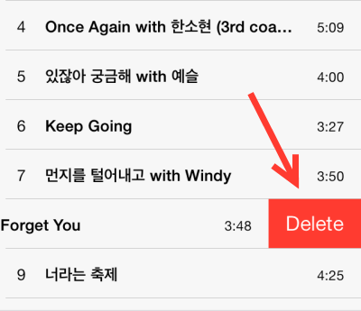 delete a song from track list in ios 7