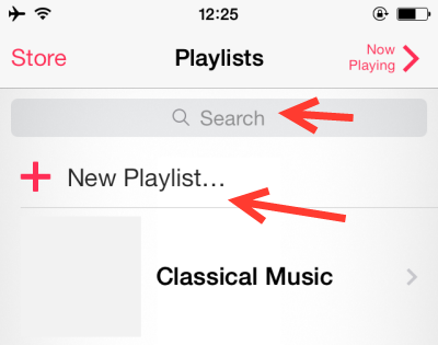 create new playlist on iphone 5s ios 7