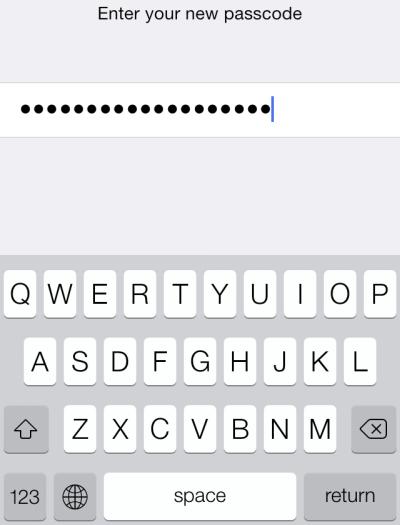 set up alphanumerics passcode in iOS