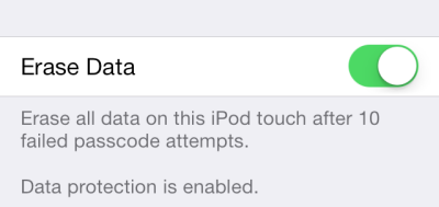 iOS erase data after failed passcode attempts