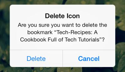 delete a website shortcut in iOS