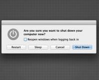dialog box for shutdown a mac