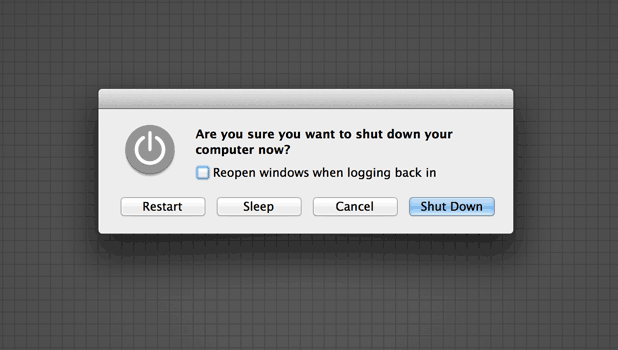 dialog box for shutdown a mac