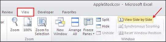 excel view side by side