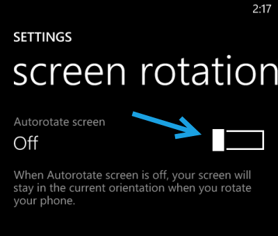windows phone 8 turn off auto rotate screen