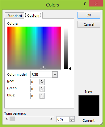 apply custom color to an object in PowerPoint