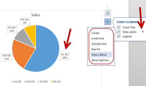 change data labels position in powerpoint word excel