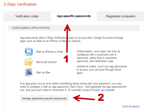 generate app specific password for google account