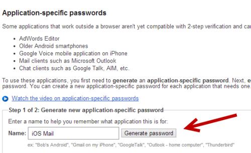 generate app specific password for Google account