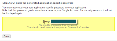 application specific password for Google account
