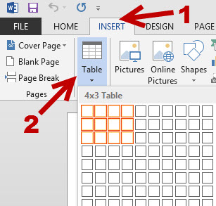 insert new table to word document
