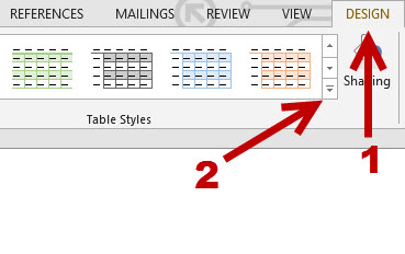 design a word table style