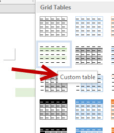 save custom word table style