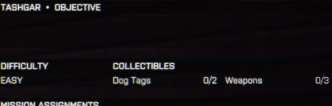 BattleField 4 Collectibles section
