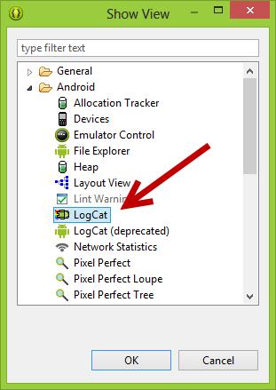 open logcat window in Eclipse