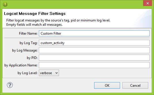 create a custom logcat filter