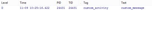 filtered result in logcat