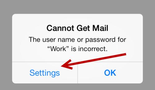 reconfigure email password ios mail