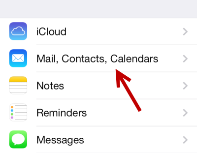 iOS Mail Contacts Calendars Settings