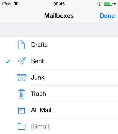 iOS 7 add email folder shortcut in Mail
